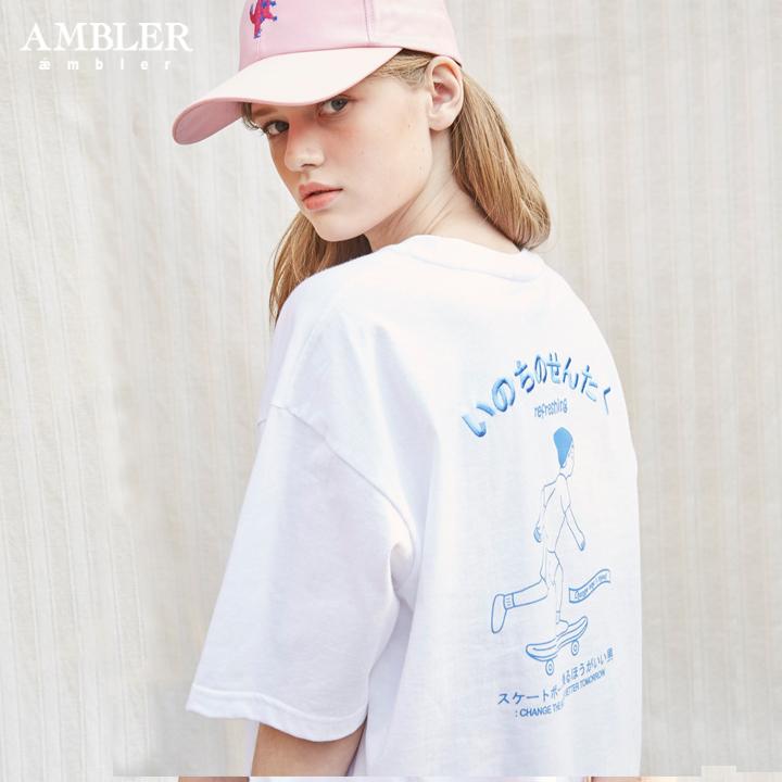 [엠블러]AMBLER 19SS 신상 반팔 티셔츠 AS616-화이트