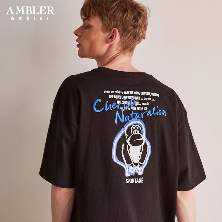 [엠블러]AMBLER 19SS 신상 반팔 티셔츠 AS617-블랙