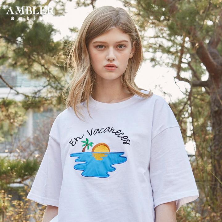 [엠블러]AMBLER 19SS 신상 반팔 티셔츠 AS623-화이트