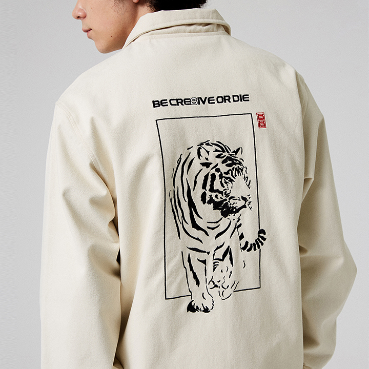 TIGER EMBROIDERED JACKET_IVORY
