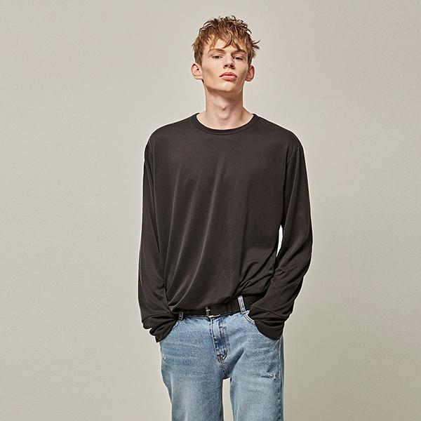 CUFF R-NECK LONG T-SHIRTS_BLACK