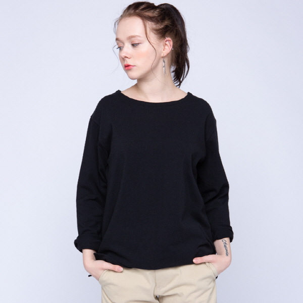 BOAT NECK SIMPLE TEE (블랙)