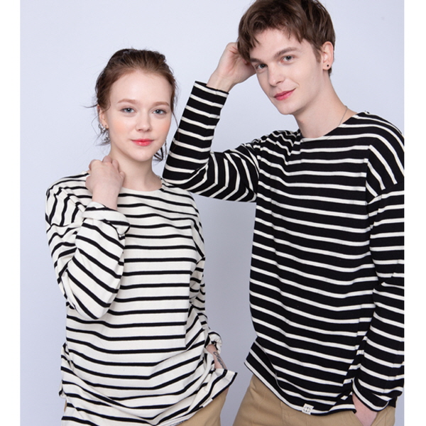 Stripe Boat Neck T-shirt (블랙)