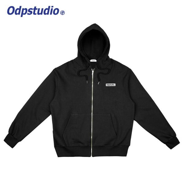 Odp Box Logo Hoodie Zipup Black