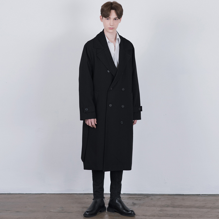 BLACK Oversized Long Trench Coat