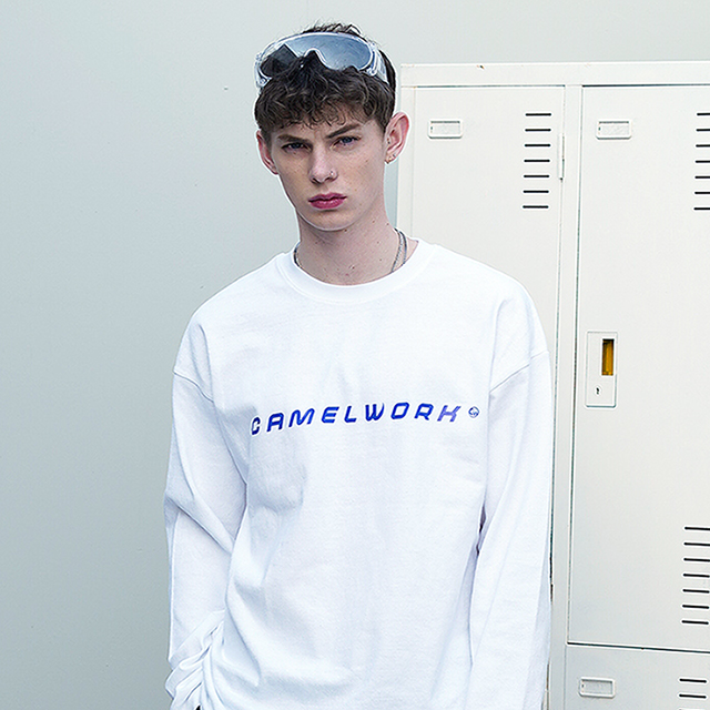 Basic Logo Over-Fit L/S T-Shirts(White)