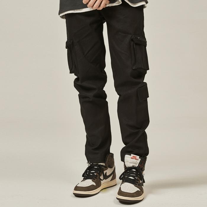 [데드엔드] BLACK CARGO ZIPPER STRING PANTS