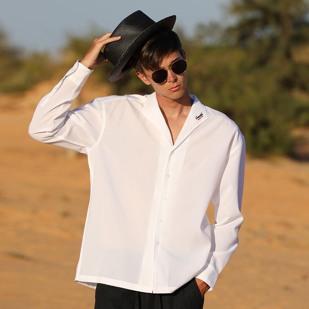 [단독할인]프롬에이투비 TOBLS102 레이온 사이드 포인트 오픈 카라 오버핏 셔츠 (3color Unisex)