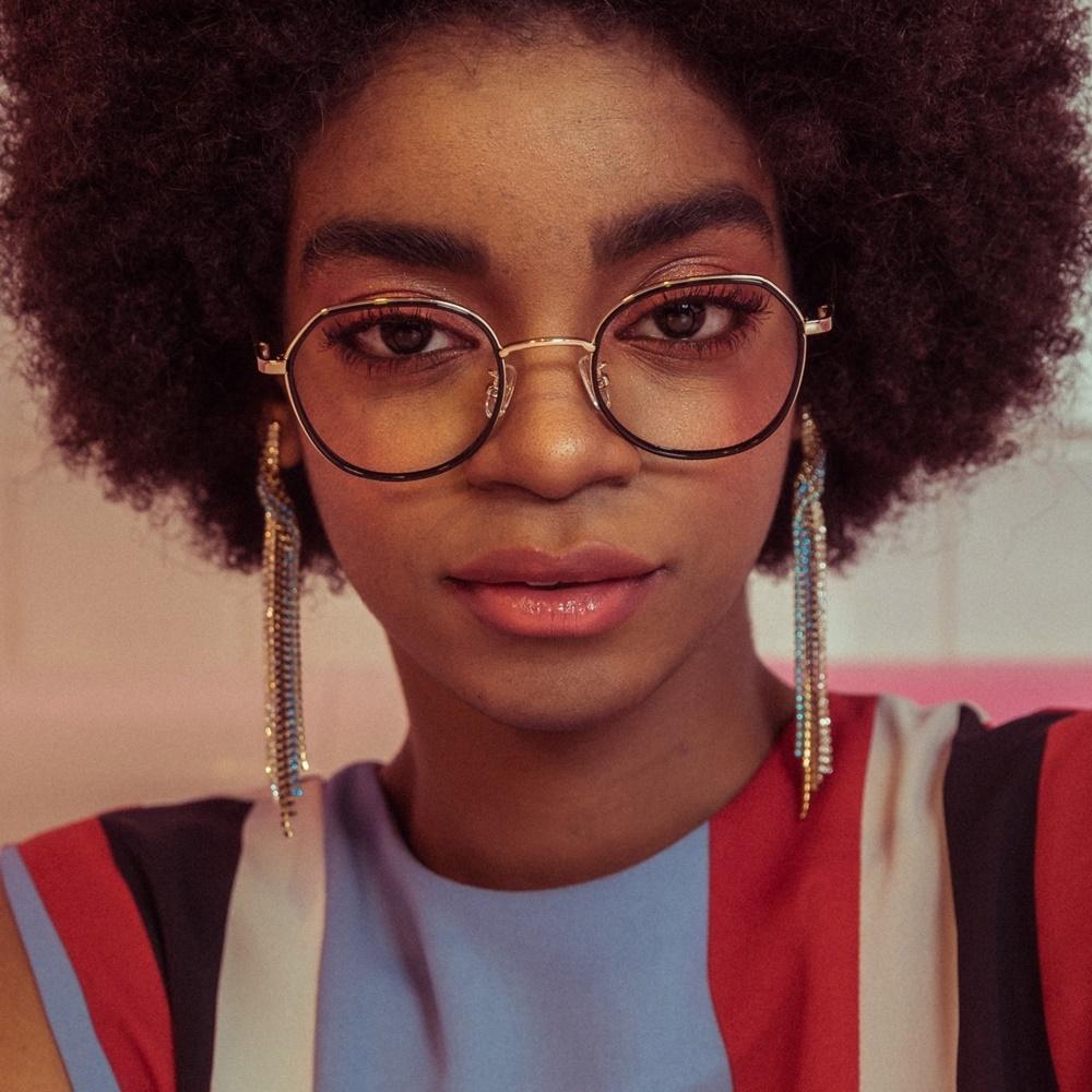 ADDY gold-black 남자 여자 동그란 레트로 명품 가벼운 금테 안경테