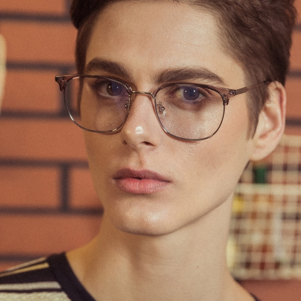 CLARK greycrystal 남자 여자 하금테 사각 연예인 청광 렌즈 블루라이트 차단 시력 눈 보호 보안경 투명 은테 안경테