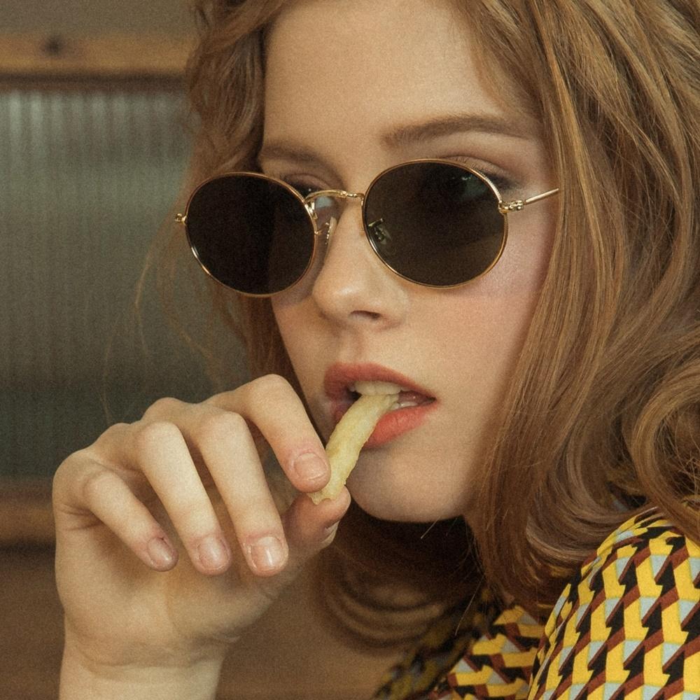 PENN gold-olivegreen 남자 여자 가벼운 레트로 빈티지 복고 금테 메탈 사이파이 눈알가리개 알 작은 커플 선글라스