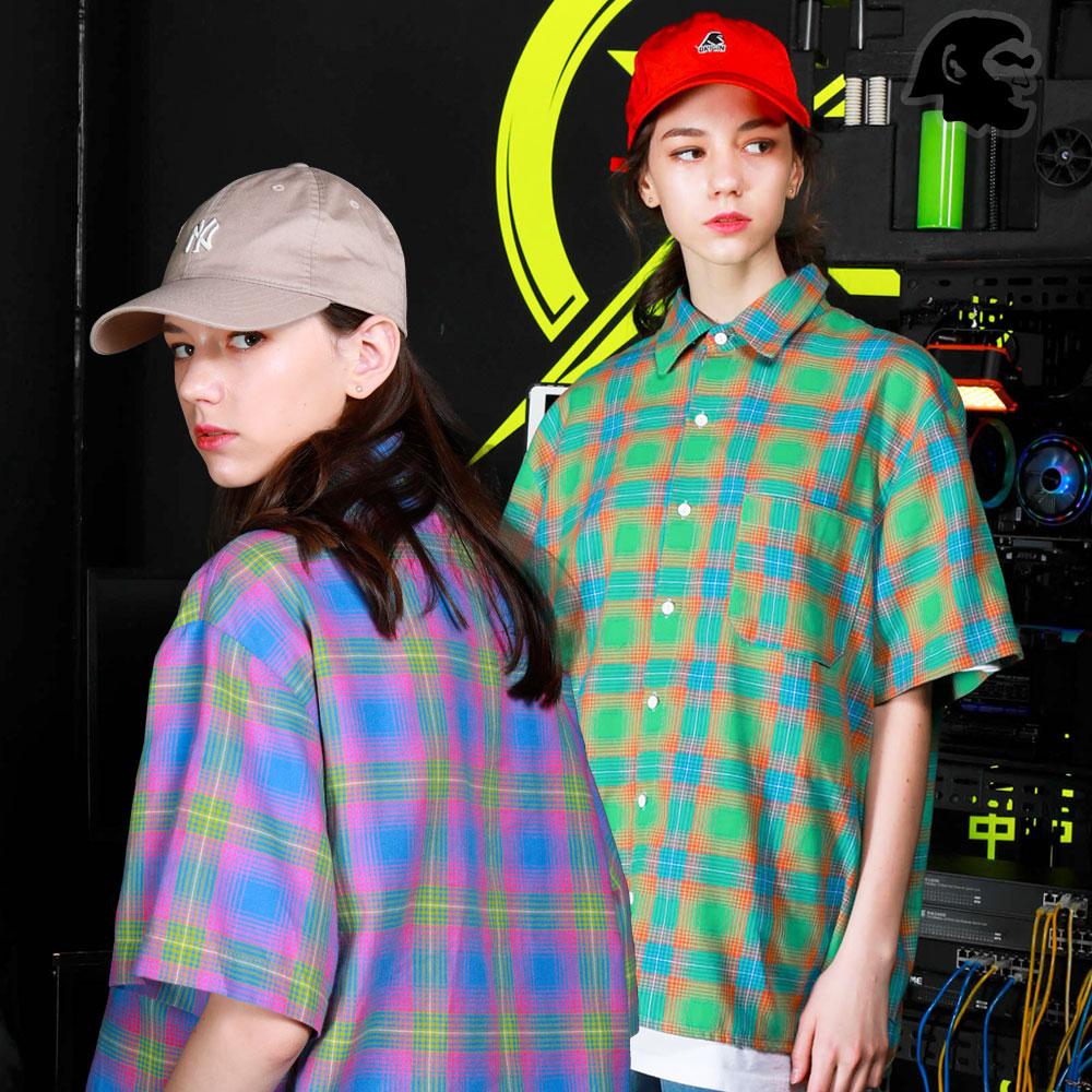 [퍼스텝] 프리즘 체크 반팔 셔츠 2종 SMSS4255