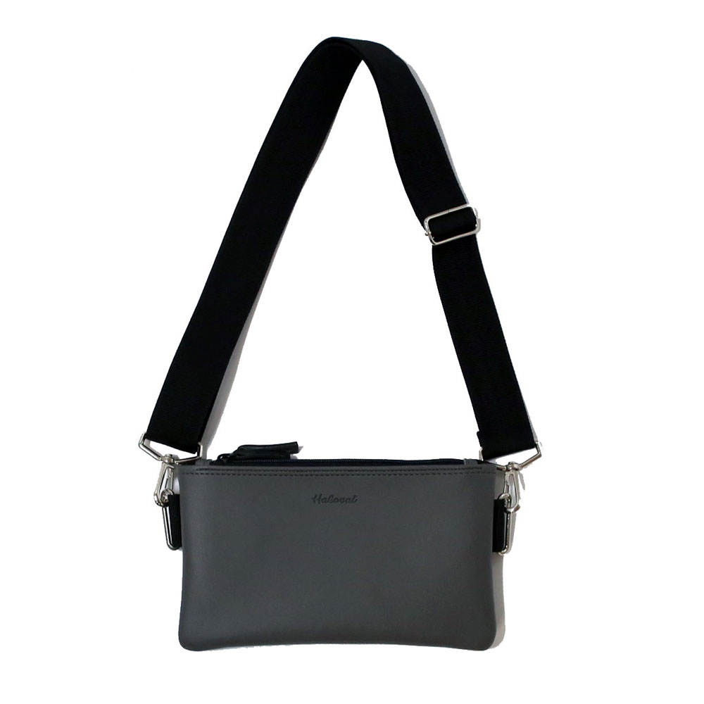 DOUBLE ZIPPER MINI CROSS BAG/ DARKGRAY
