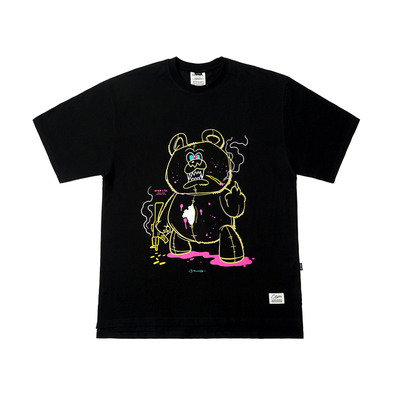 STIGMA BEAR GANG OVERSIZED T-SHIRTS BLACK