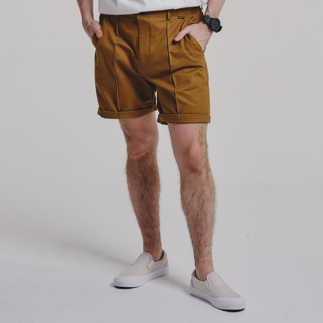 PINTUCK shorts_CAMEL