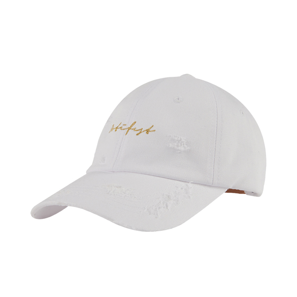 [단독할인][도끼 제시 착용][Motifest] Garments Script Cap Distressed Ver. (White)