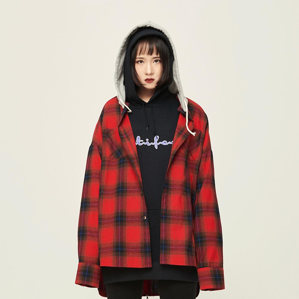 [오케이션 XION 착용][Motifest] 18F/W Garments Detachable Half Hood Shirts (Red)
