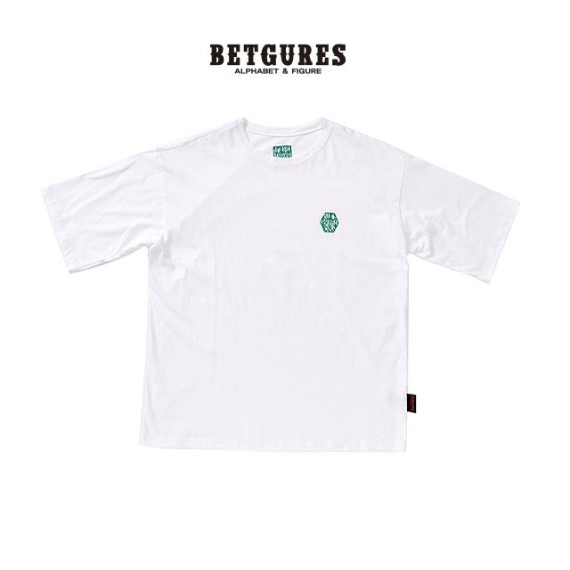 [벳규어스] 도장 자수 디테일 남녀공용 반팔티셔츠 (S M L 흰색)