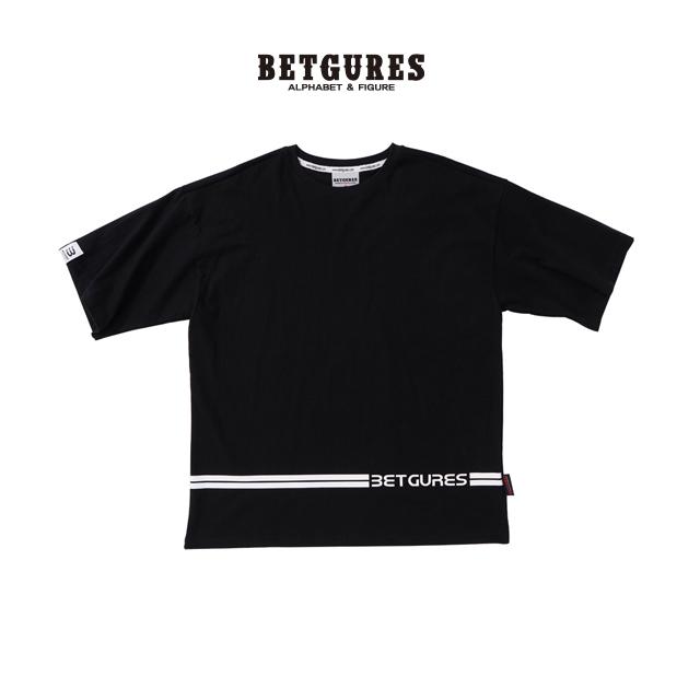 [벳규어스] 트로피컬 라인 남녀공용 반팔티셔츠 (S M L 검정)