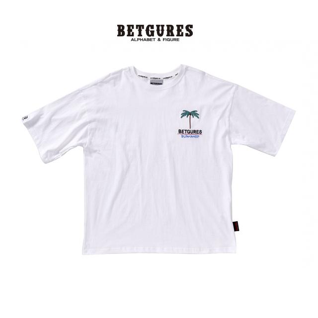 [벳규어스] 트로피컬 자수 남녀공용 반팔티셔츠 (S M L 흰색)