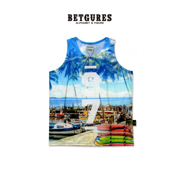 [벳규어스] 휴양지 세트 민소매 티셔츠 (S L 파랑)
