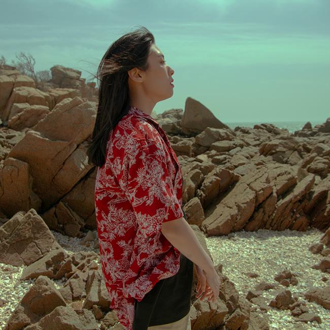 정글 프린트 하와이안 셔츠 red