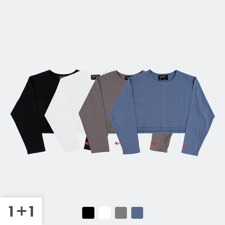 [1+1] [단독상품]UMM LONG SLEEVE CROP TEE