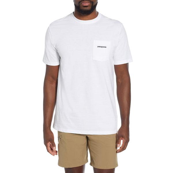 파타고니아 P6 로고 포켓 티셔츠 화이트
