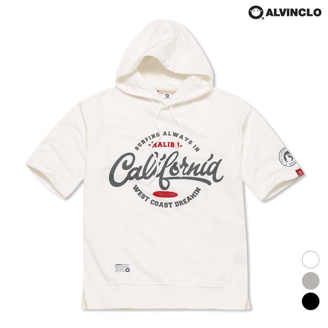 앨빈클로 캘리포니아 프린트 반팔 후드티셔츠 AST3523
