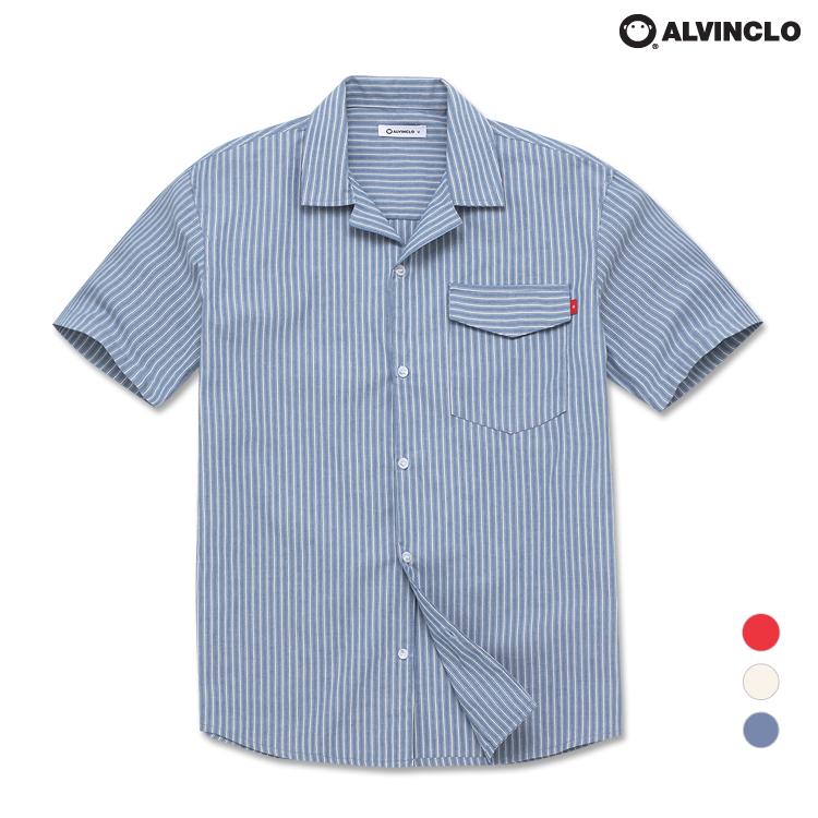 앨빈클로 코디 캐쥬얼 스트라이프 반팔 셔츠 ASH1206