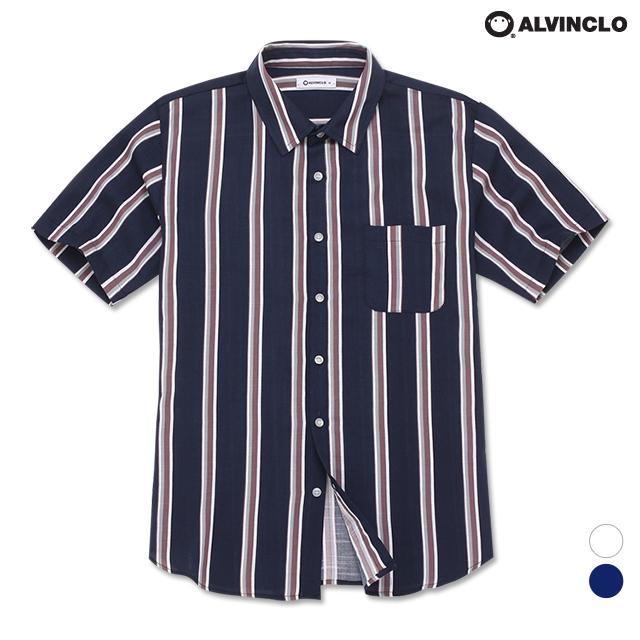 앨빈클로 컬러감 좋은 스트라이프 반팔 셔츠 ASH1207