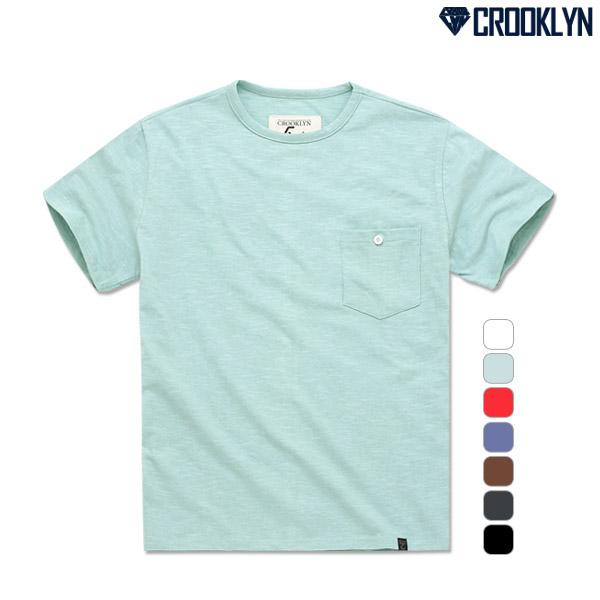 크루클린 남녀 슬럽 무지 포켓 반팔 티셔츠 TRS010
