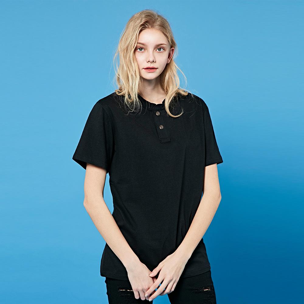 크루클린 남녀 2버튼 무지 헨리넥 반팔 티셔츠 TRS035