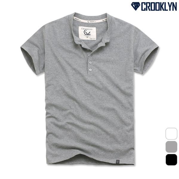 크루클린 남녀 5버튼 무지 헨리넥 반팔 티셔츠 TRS143