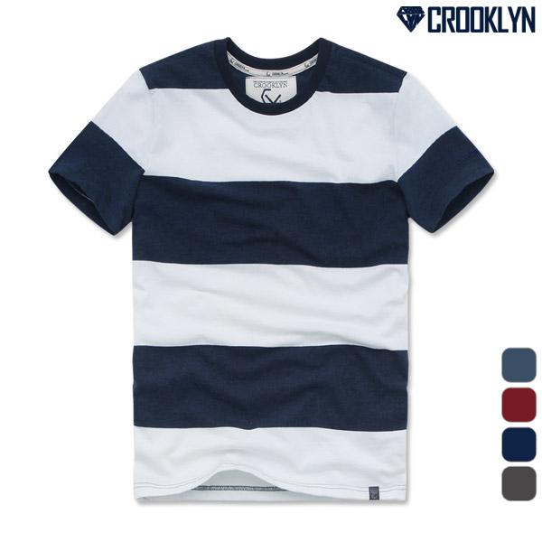 크루클린 남녀 굵은 스트라이프 반팔 티셔츠 TRS080
