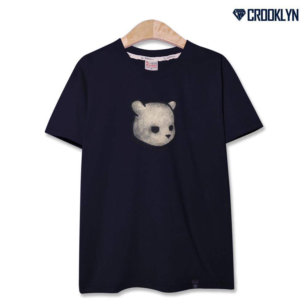 크루클린 남녀공용 베어 프린트 반팔 티셔츠 TRS011