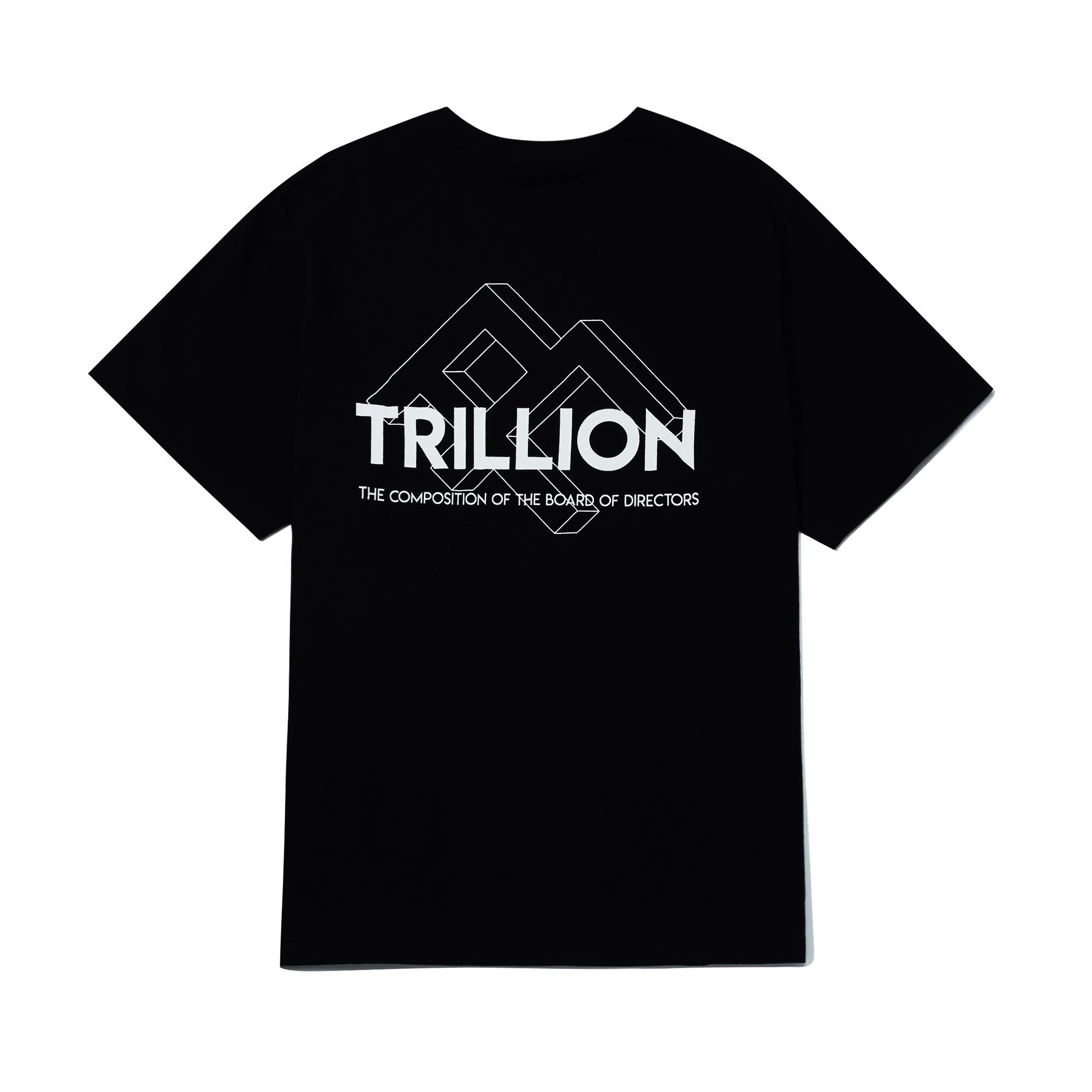 트릴리온 스퀘어 로고 오버핏 반팔 티셔츠 BLACK - IN8STS010