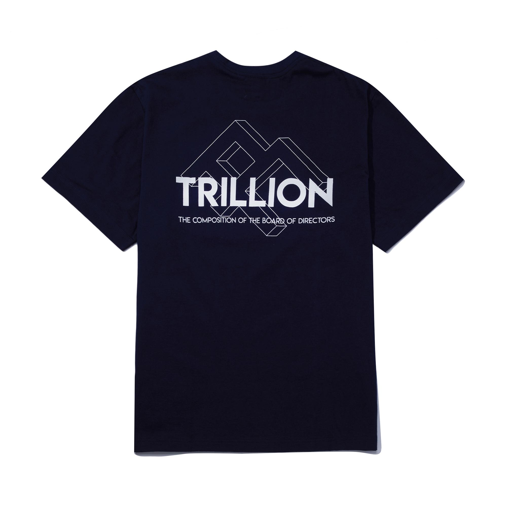 트릴리온 스퀘어 로고 오버핏 반팔 티셔츠 NAVY- IN8STS010