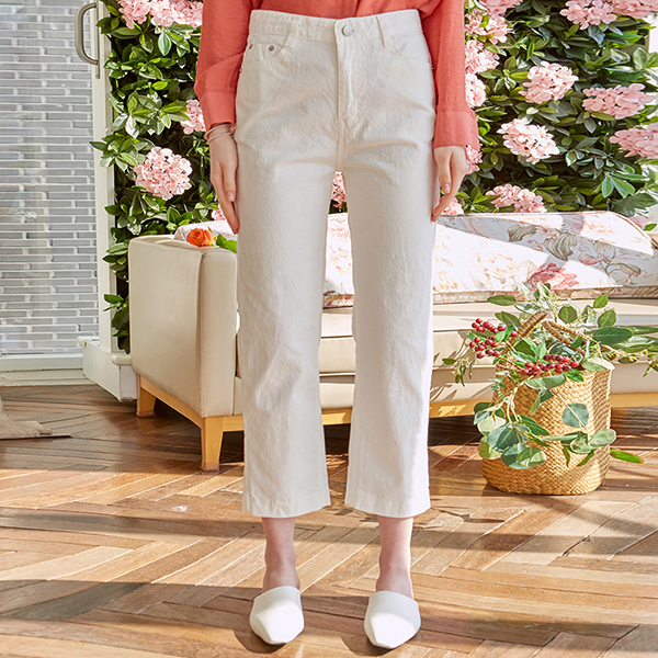CROP STRAIGHT COTTON PANTS_IVORY