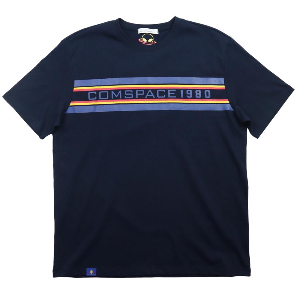 트리플 라인 프린트 티셔츠 네이비