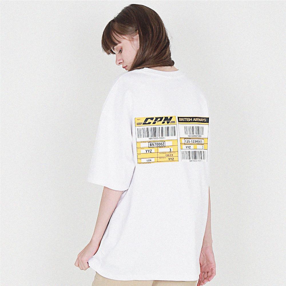 [16수] 헤비 오버핏 express barcode 화이트