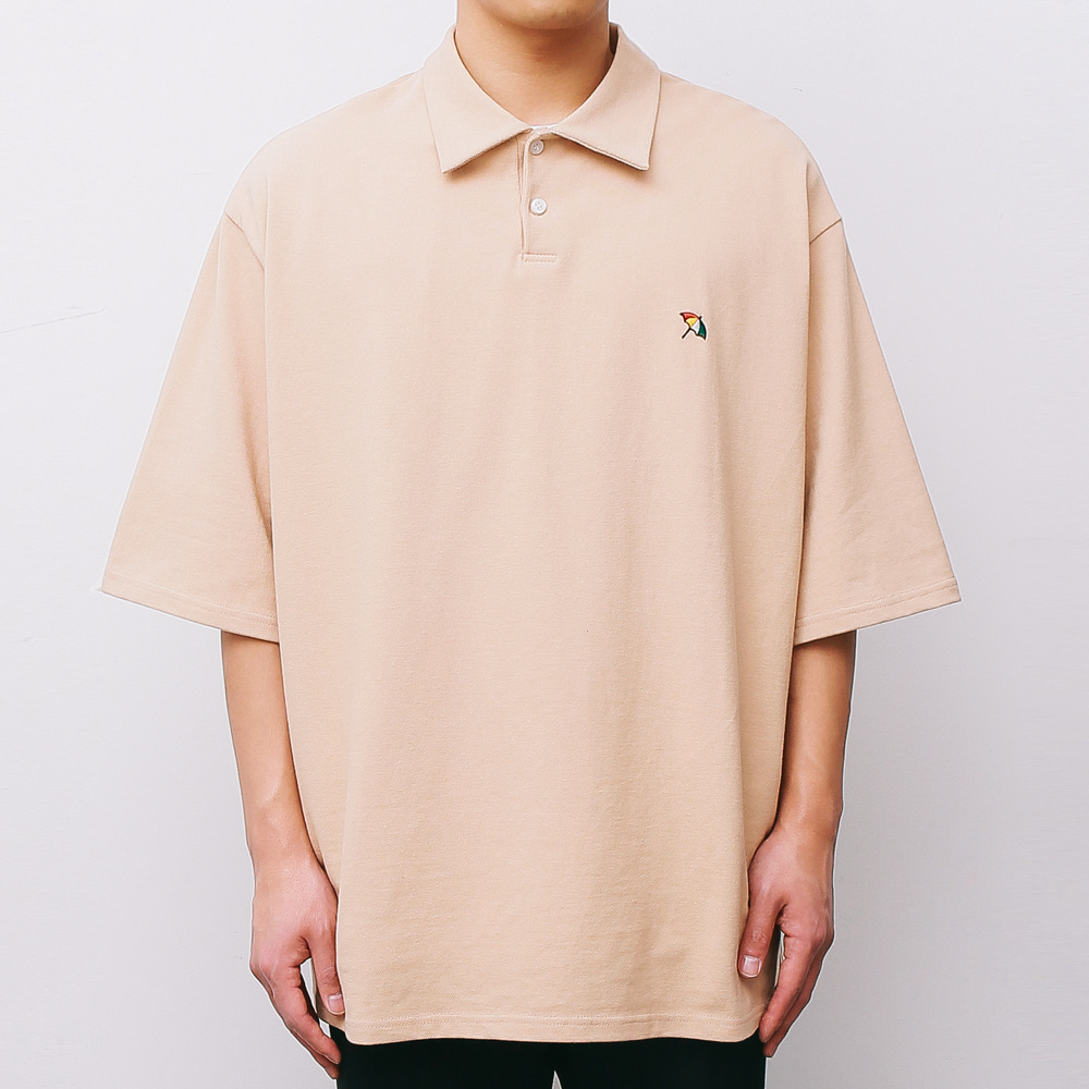 [ARNOLD PALMER X ESN] Over fit PK 1/2 Tee beige