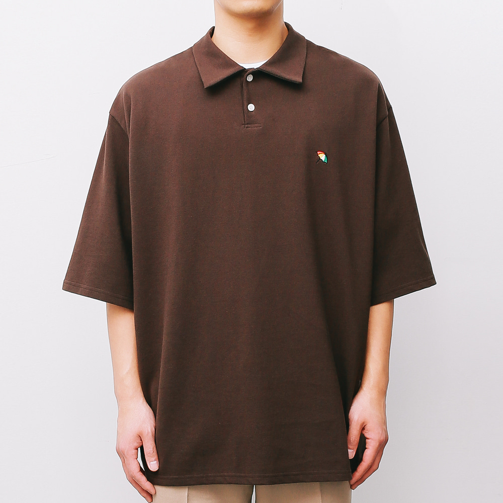 [ARNOLD PALMER X ESN] Over fit PK 1/2 Tee brown