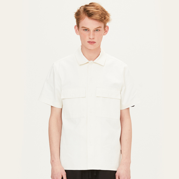 OPEN COLLAR HALF SLEEVE SHIRTS (IVORY) [FSH003H23IV]