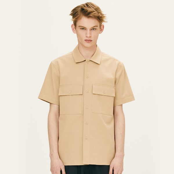 OPEN COLLAR HALF SLEEVE SHIRTS (BEIGE) [FSH003H23BE]