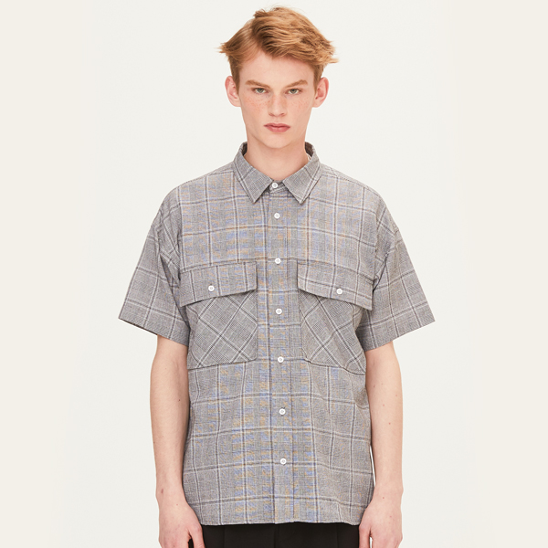 2 POCKET SHORT SLEEVE SHIRTS (BLACK) [FSH004H23BK]