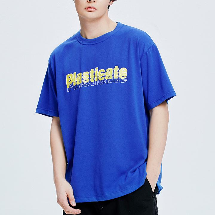 PLASTICATE 멀티로고 1/2 티셔츠 (블루)