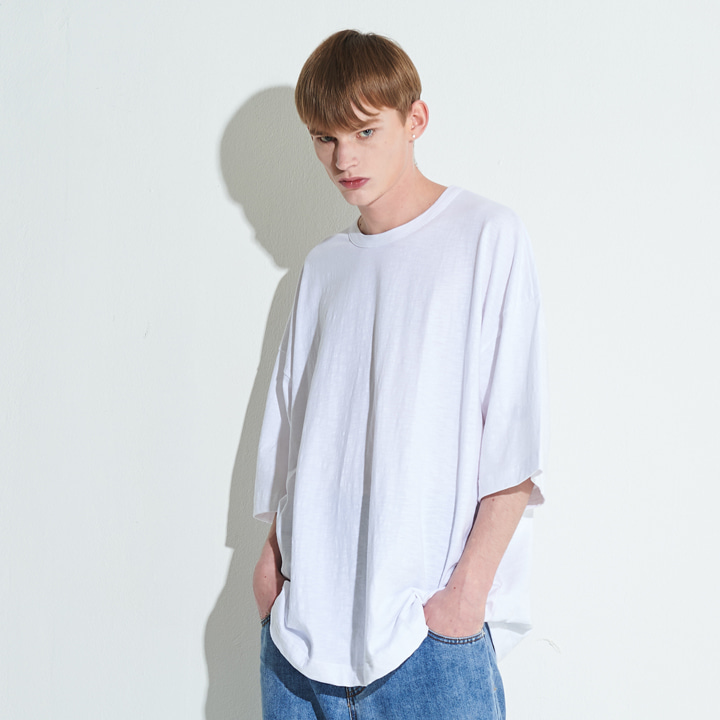 XTT007 슬라브 오버사이즈 티셔츠 (WHITH)