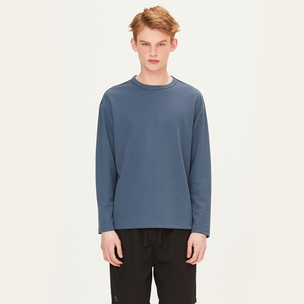 POLY WAFFLE LONG SLEEVE T-SHIRTS (BLUE) [FTS001H13BL]