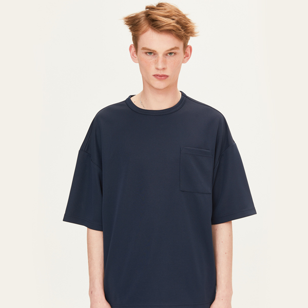 POLY WAFFLE CHEST POCKET T-SHIRTS (NAVY) [FTS002H23NA]